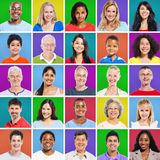 5 x 5 Colourful Grid with facial expressions Royalty Free Stock Photos