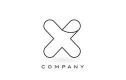 X contorno del profilo di Logo With Thin Black Monogram della lettera del monogramma Fotografie Stock