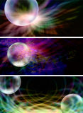 3 x Creative Bubble Website Banners. Three different website banners with black backgrounds, vivid colors and transparent bubbles Stock Images