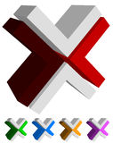 X, cross icon, logo, shape design element in several colors Royalty Free Stock Photography