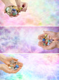 3 x crystal healing web banners. Three different crystal healing website headers showing male and female with cupped hands holding a selection of healing Stock Photos