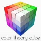 4x4 cubes makes color gradient in shape of big cube. 3d style vector illustration. 4x4 cubes makes color gradient in shape of big cube. color theory concept royalty free illustration
