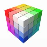 4x4 cubes makes color gradient in shape of big cube. 3d style vector illustration. 4x4 cubes makes color gradient in shape of big cube. color theory concept stock illustration