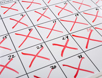 X-d out Calendar Stock Images