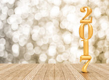 2017 (3d rendering) new year gold color  in perspective room wit Stock Images