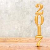2017 & x28; 3d rendering& x29; nieuwe jaar gouden kleur in het verstand van de perspectiefruimte Stock Fotografie