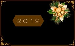 """New Year illustration design. """"2019"""" on dark golden horizontal polygone-shaped which is on black backround with christmas bouquet ornament in the top stock illustration"""