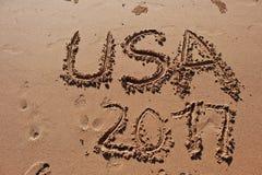 & x22; De V.S. 2017& x22; geschreven in het zand op het strand Stock Afbeeldingen