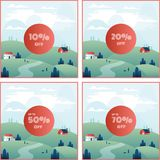Banner Discount Percentage Off With Beautiful Mountain Scenery Background. Banner Discount Percentage Off With Beautiful Mountain Scenery, include 10% off, 20% royalty free illustration