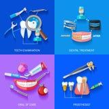2x2 dentista plano Icons Set Imagenes de archivo
