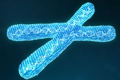 X digital, artificial chromosomes with DNA carrying the genetic code. Genetics concept, artificial intelligence concept. Binary code in the human genome royalty free illustration