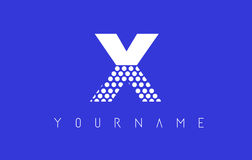 X Dotted Letter Logo Design with Blue Background. Royalty Free Stock Images