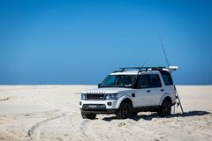 Beach Driving 4x4. 4x4 driving on the beach, Landrover Discovery. Day tripping to the beach Royalty Free Stock Images