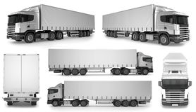6 x Duży Ciężarowy tło - Pusty mockup dla projekta oznakować Zdjęcie Stock