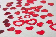 X e O e corações Fotos de Stock Royalty Free