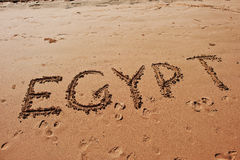"""Egypt"" written in the sand on the beach Stock Images"