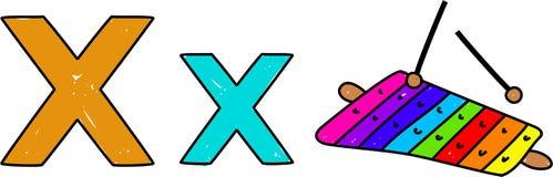 X est pour le xylophone Photos stock