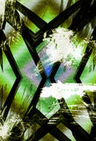 X factor. Abstract criss cross linear bars with heavy grunge overlay paint strokes and textured rainbow diamond ground detail Stock Photo