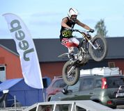 4x4 Festival Sweden. Jimmy Olsson appearance on 4x4 Festival in Sweden on motorcycle Royalty Free Stock Photo