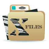 X files folder icon. Illustration of X files folder icon with inexplicable and mysterious material inside Royalty Free Stock Photo