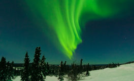 X Flare Aurora on Cleary Summit. X class solar flare induced aurora on Cleary Summit, north of Fairbanks Alaska Royalty Free Stock Photography