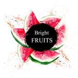 & x22; Fruits& luminoso x22; vendita e l'altro modello dell'aletta di filatoio con iscrizione Illustrazione dell'acquerello illustrazione vettoriale