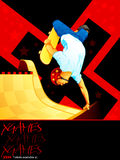 X-games skateboarding poster. X-games poster with a skateboarder over ramp Royalty Free Stock Photography