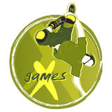 X-games symbol. Aggressive roller at the X-games round symbol isolated Royalty Free Stock Images