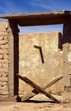 X gate. Two pieces of wood forming an X in the Mexican desert stock image