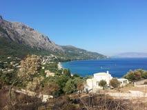 科孚岛& x28; greece& x29;海岛视图 库存图片