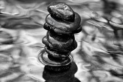 `Stacker` zen rocks stacked in water with tree limbs overhead. This 6000 x 4000 HD photo features a stack of zen rocks reflecting in a pool of water. in black Stock Images