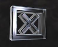 X het Gecontroleerde symbool van de Doos in glas Royalty-vrije Stock Foto's