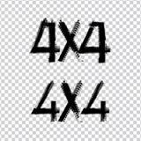 4x4 het van letters voorzien Beeld Royalty-vrije Illustratie