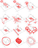 12x house energy concept diagram Stock Photos