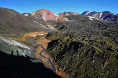 Hiking up icelandic mountains Blahnukur Royalty Free Stock Photos
