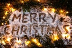 X22 & inskrypcja; Wesoło Christmas& x22; w śniegu Fotografia Royalty Free