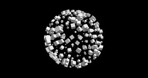 (8K)3D rendering of white cubes isolated with black background Stock Photo