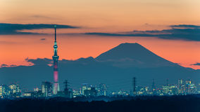 Kylo Ren light-up of Tokyo Skytree with Mt. Fuji Royalty Free Stock Photo