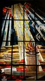 Stained Glass Air Force Museum Ohio. Lady Be Good-Originally located at the chapel of the Wheelus Air Force Base Lady Be Good is now on display at the National stock image