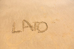 'Lato' word written on sand. 'Lato' word written on beach sand in sunny day Stock Photo
