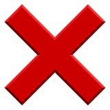 X letra, forma de X con efecto biselado Prohibición, restricción, d stock de ilustración