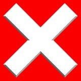 X letra, forma de X con efecto biselado Prohibición, restricción, d libre illustration