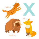 X letter animals set. English alphabet. Vector illustration Stock Image