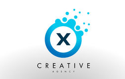 X Letter Logo. Blue Dots Bubble Design Vector Royalty Free Stock Photography
