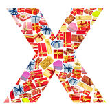 X Letter   made of giftboxes Stock Image