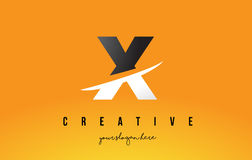 X Letter Modern Logo Design with Yellow Background and Swoosh. Stock Photos