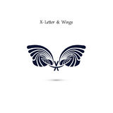 X-letter sign and angel wings.Monogram wing vector logo template Stock Image