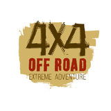 4x4 Lettering Image. Grunge tire track 4x4 logotype. Unique off road isolated lettering in a brown and beige colours on a white background. Vector illustration Stock Illustration