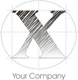 X logo. A line X logo gray and black vector illustration