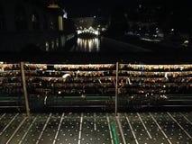 & x22;Love bridge& x22; in Ljubljana called Mesarski most & x28;The Butchers bridge& x29;. A night view on The Triple brige & x28;Tromostovje& x29; in behind of Stock Images